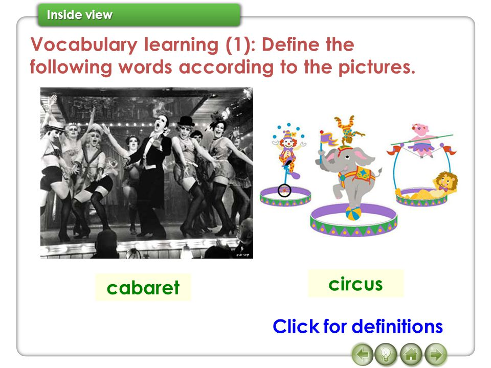 Vocabulary learning (1): Define the following words according to the pictures.