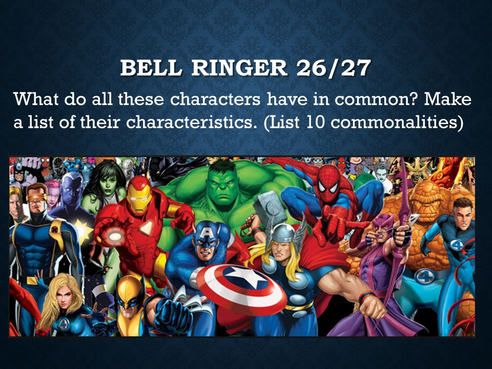 Bell Ringer 26/27 What do all these characters have in common.