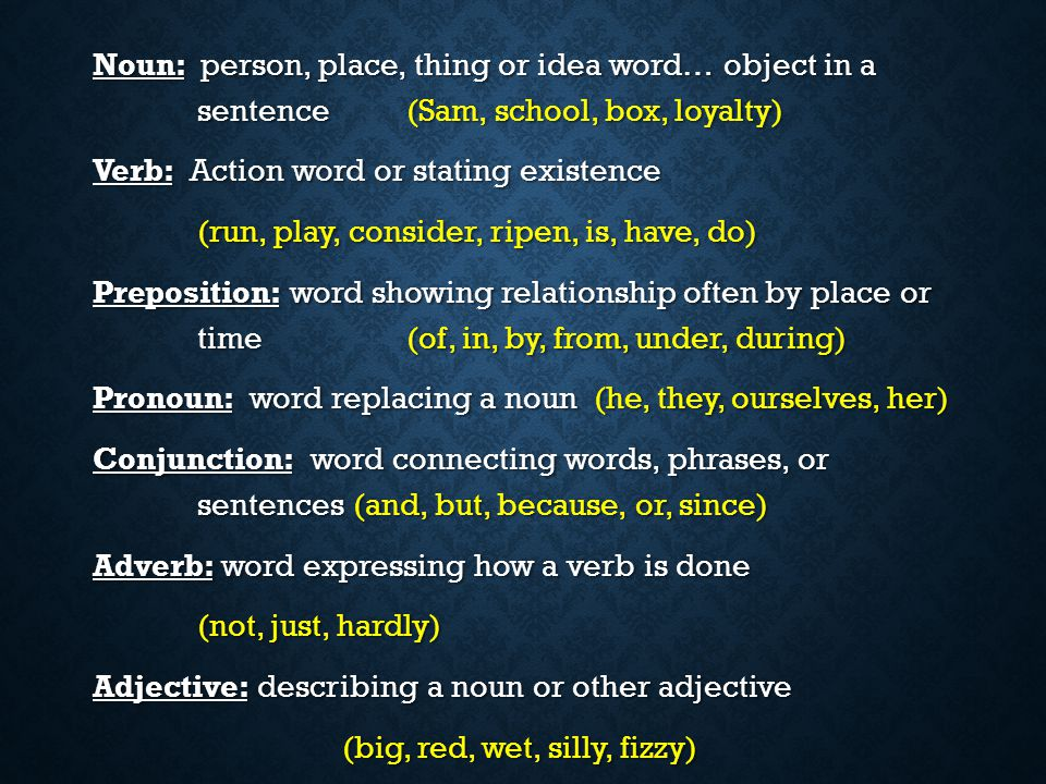 Noun: person, place, thing or idea word… object in a. sentence