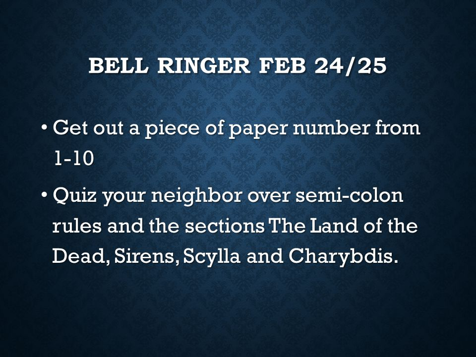 Bell Ringer Feb 24/25 Get out a piece of paper number from 1-10