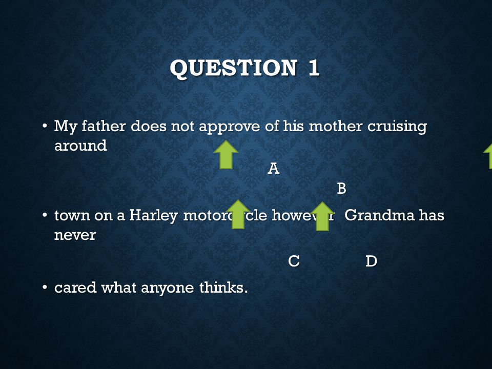 question 1 My father does not approve of his mother cruising around