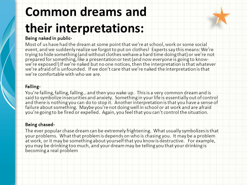 Common dreams and their interpretations: