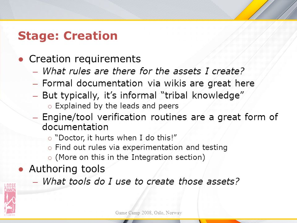 Stage: Creation Creation requirements Authoring tools