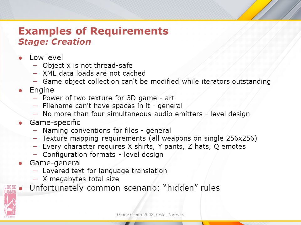 Examples of Requirements Stage: Creation