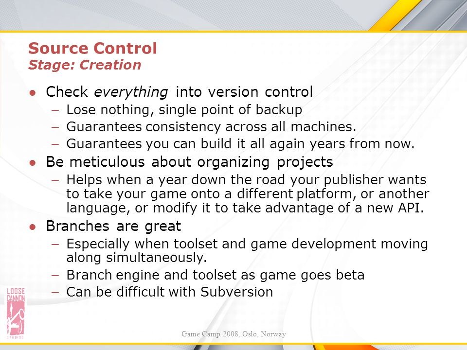 Source Control Stage: Creation