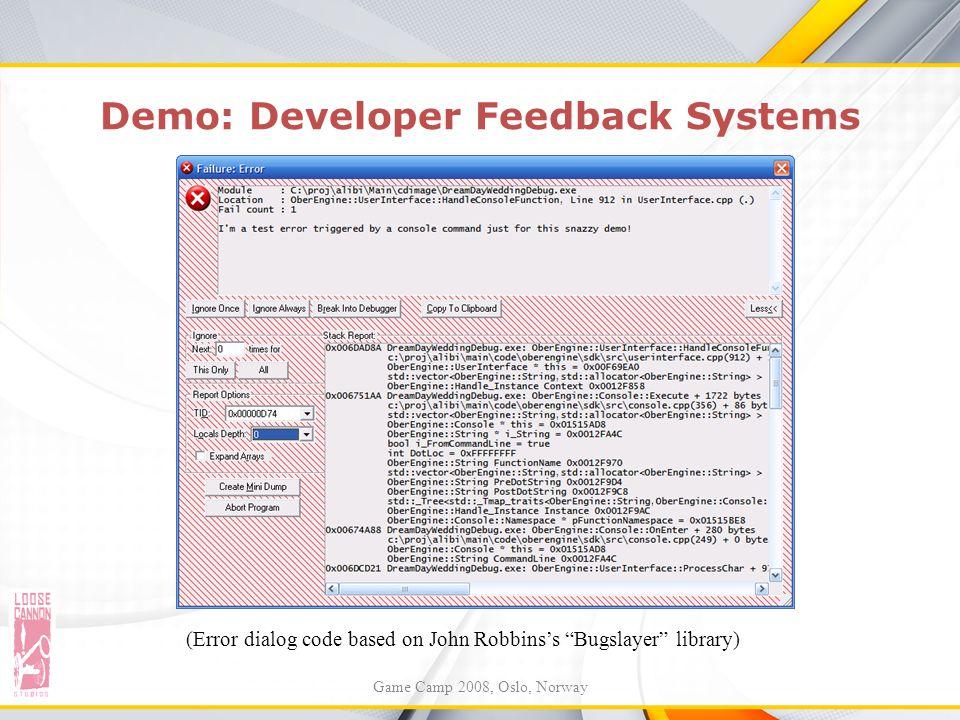 Demo: Developer Feedback Systems