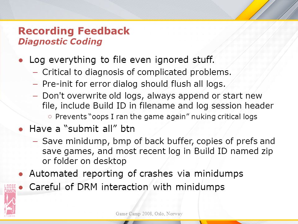 Recording Feedback Diagnostic Coding