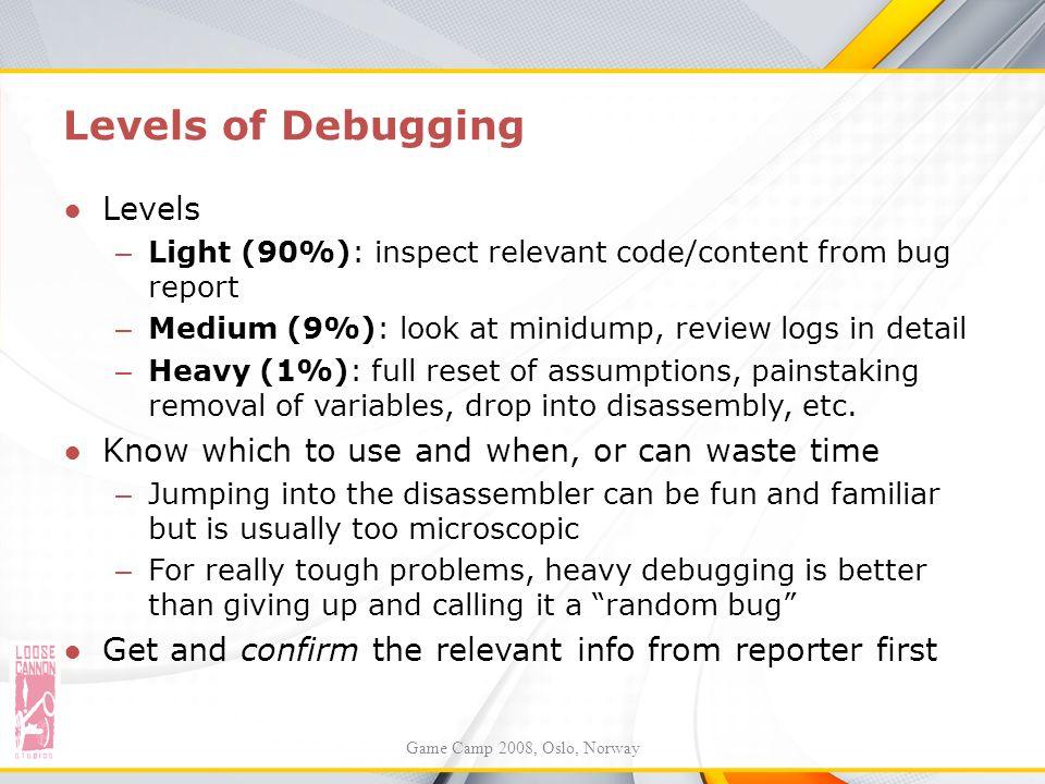 Levels of Debugging Levels