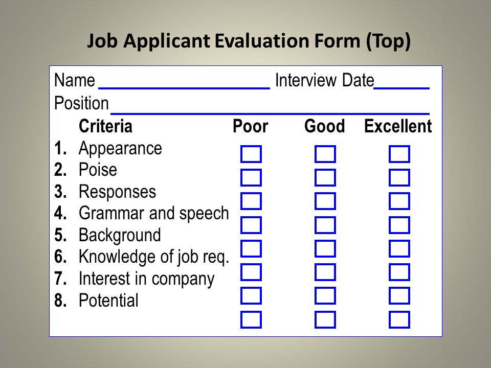 Job Applicant Evaluation Form (Top)