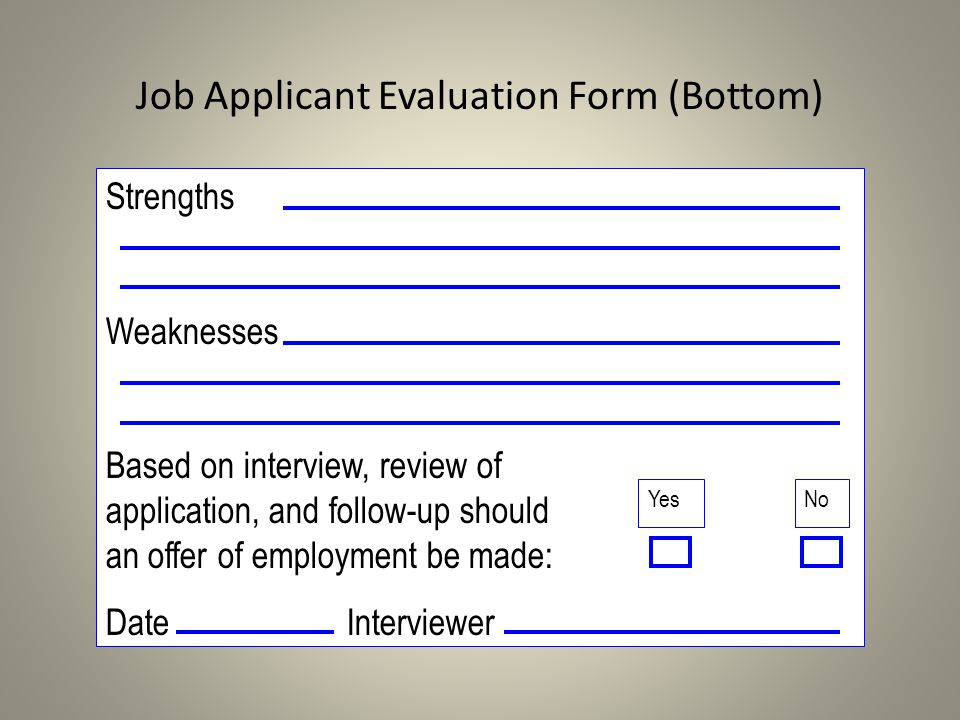 Job Applicant Evaluation Form (Bottom)