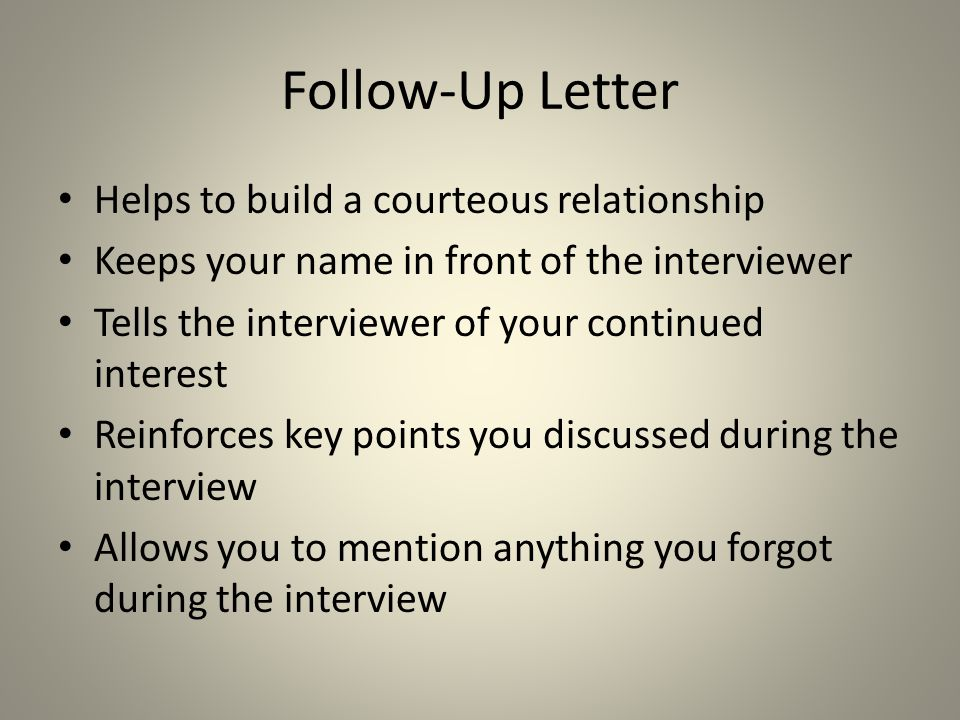 Follow-Up Letter Helps to build a courteous relationship
