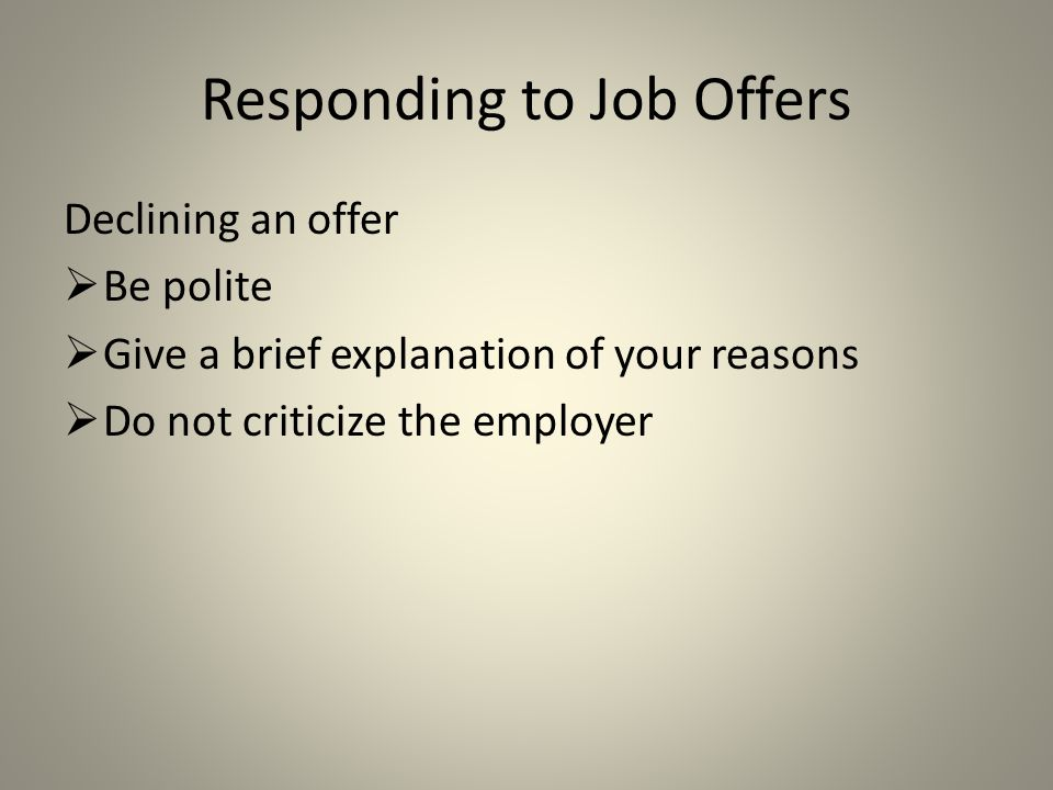 Responding to Job Offers