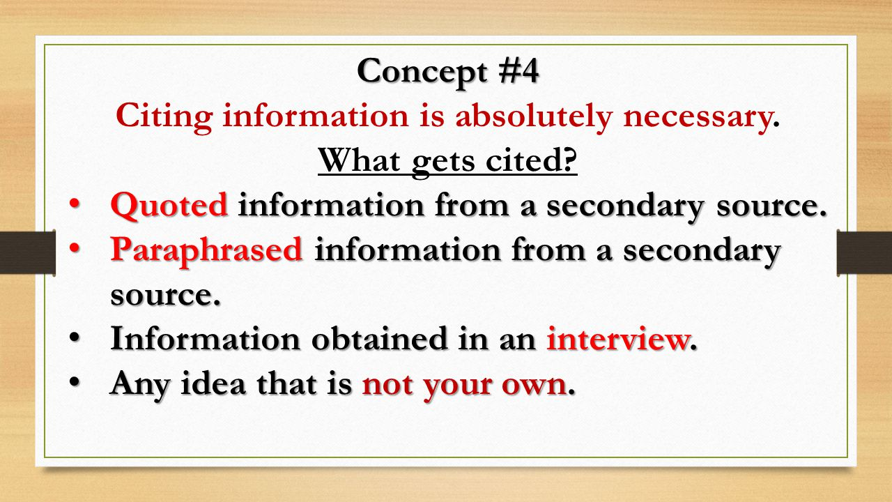 Citing information is absolutely necessary.