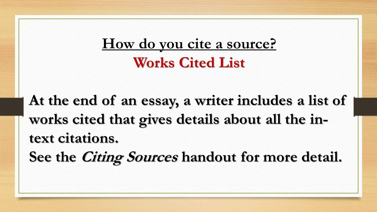 How do you cite a source Works Cited List.