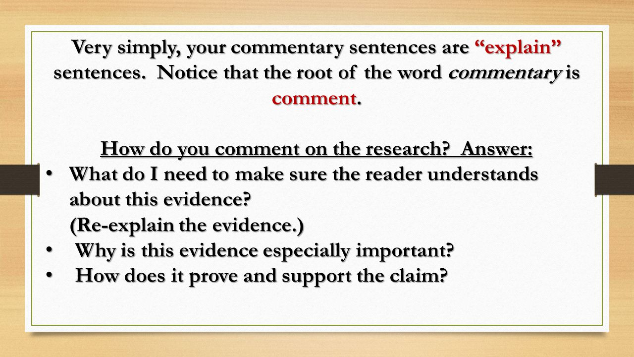 How do you comment on the research Answer: