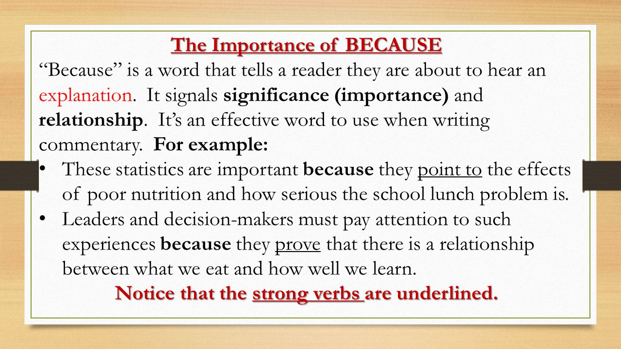 Notice that the strong verbs are underlined.