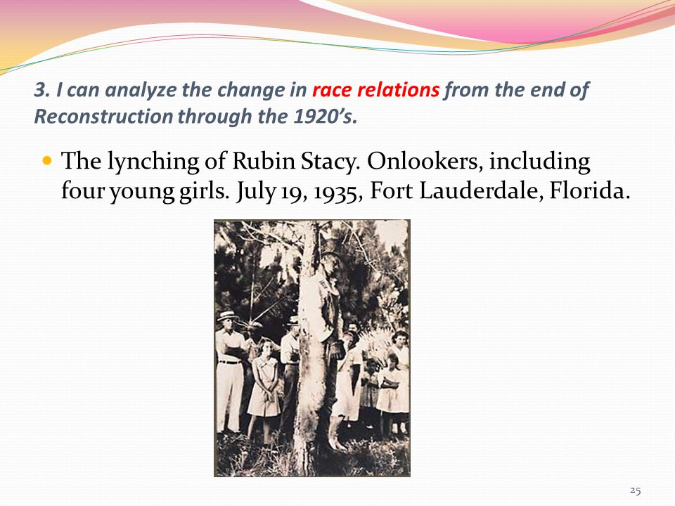 3. I can analyze the change in race relations from the end of Reconstruction through the 1920's.