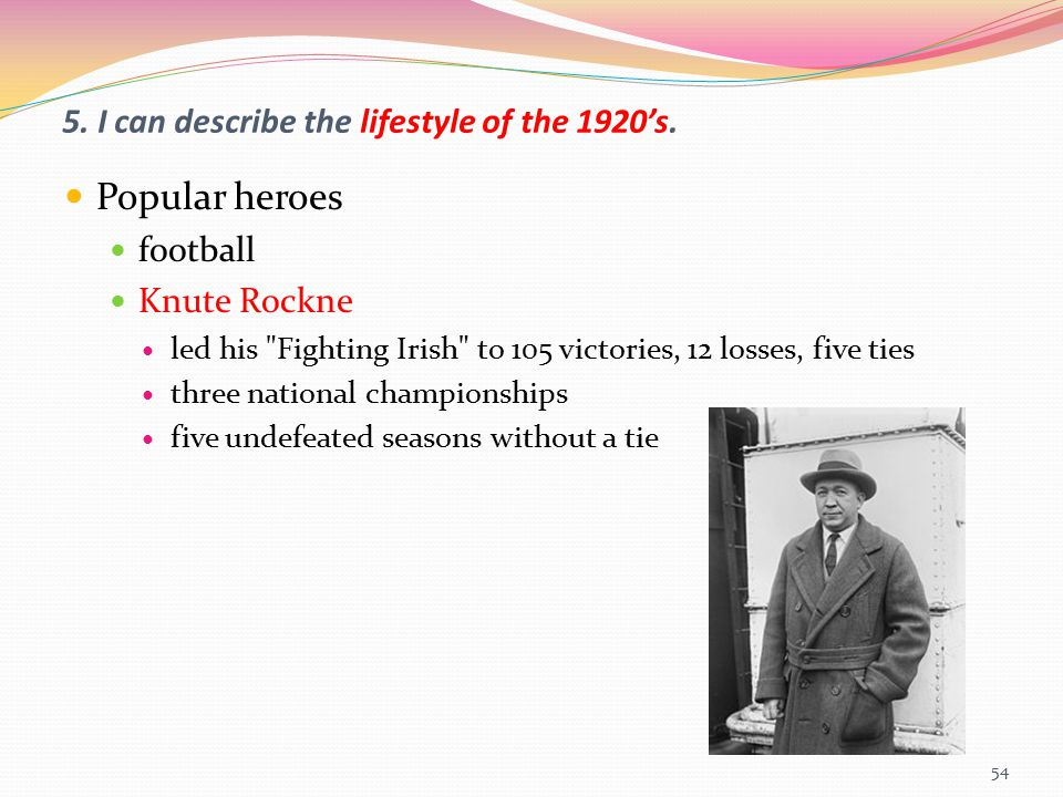 5. I can describe the lifestyle of the 1920's.