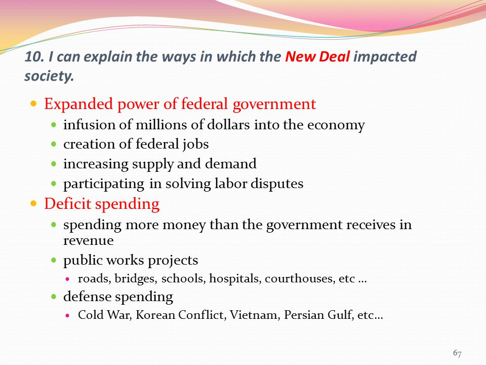 10. I can explain the ways in which the New Deal impacted society.