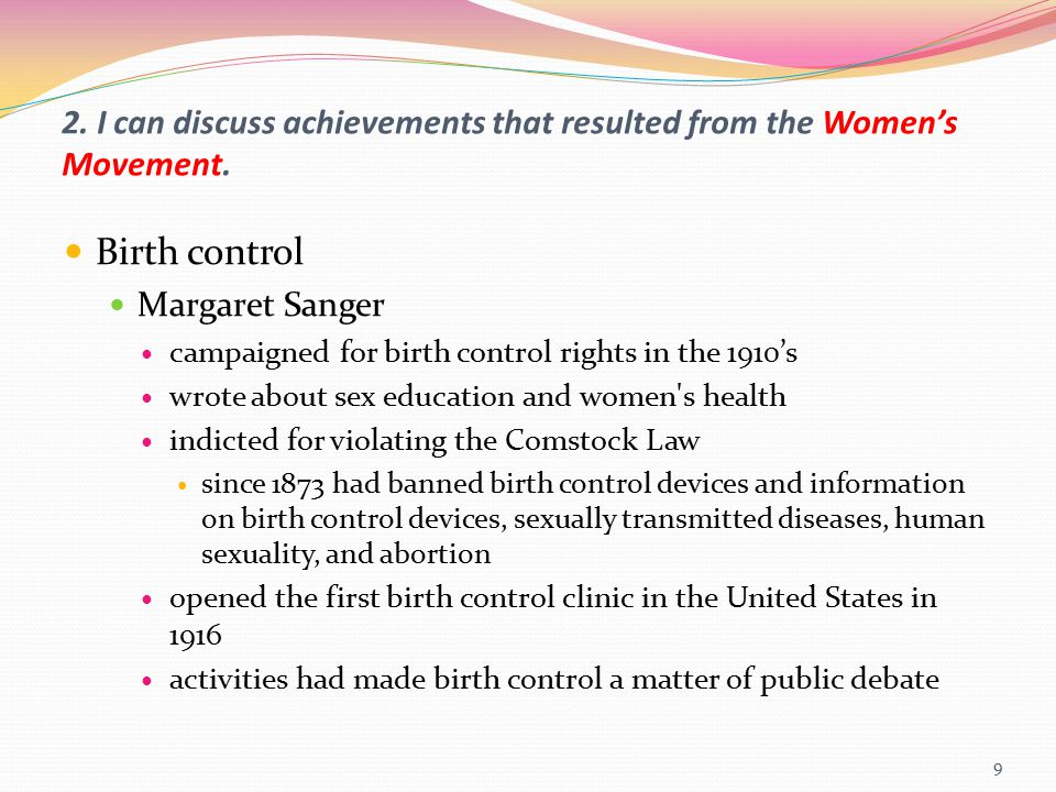 2. I can discuss achievements that resulted from the Women's Movement.