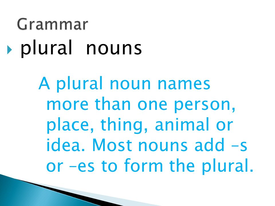 Grammar plural nouns. A plural noun names more than one person, place, thing, animal or idea.