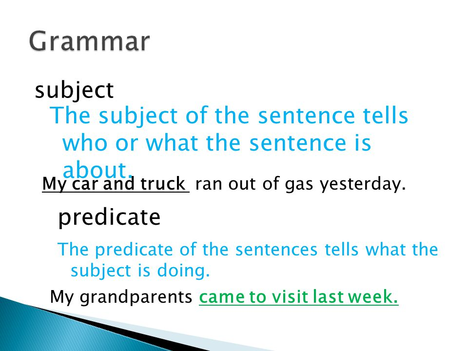 Grammar subject. The subject of the sentence tells who or what the sentence is about. My car and truck ran out of gas yesterday.