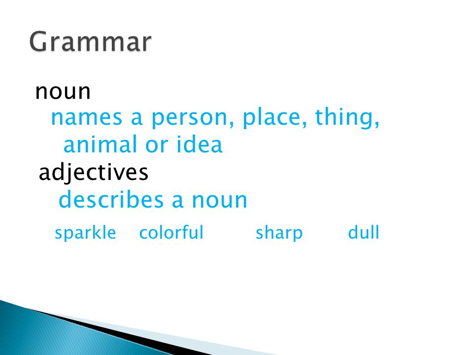 Grammar noun names a person, place, thing, animal or idea adjectives
