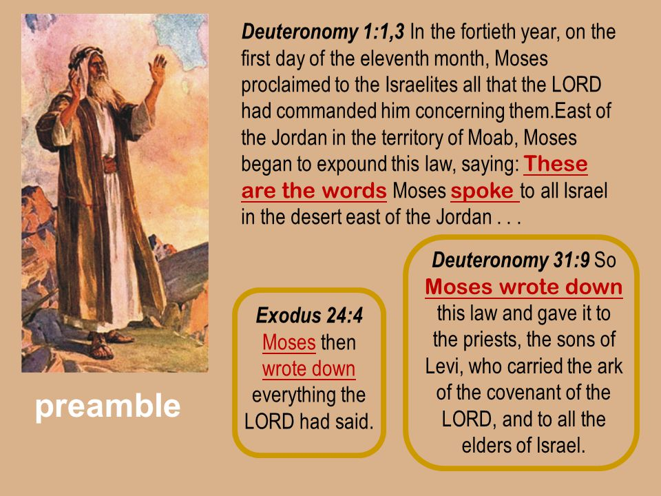 Exodus 24:4 Moses then wrote down everything the LORD had said.