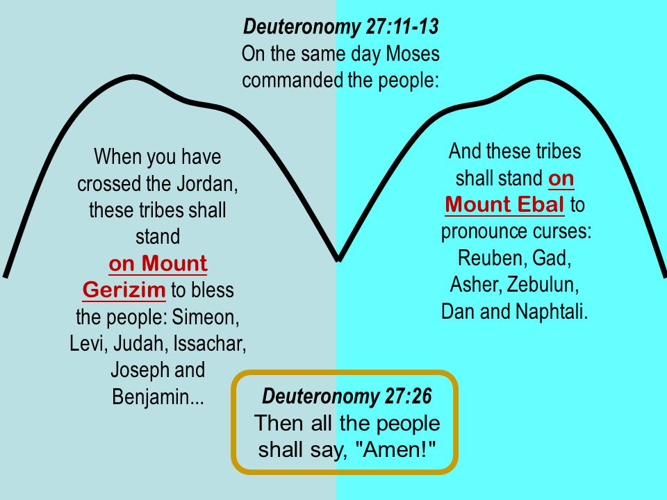 Deuteronomy 27:11-13 On the same day Moses commanded the people: