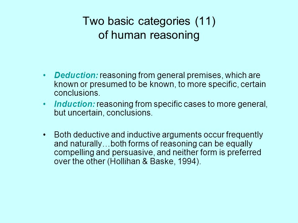 Two basic categories (11) of human reasoning