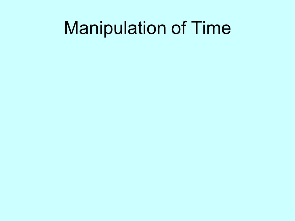 Manipulation of Time