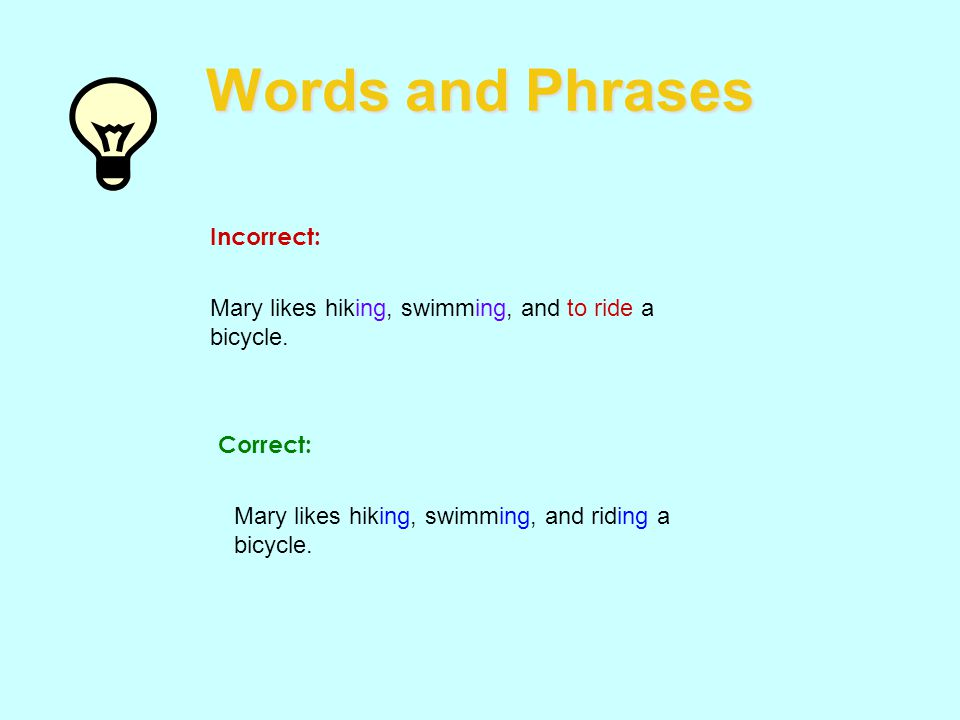 Words and Phrases Incorrect: