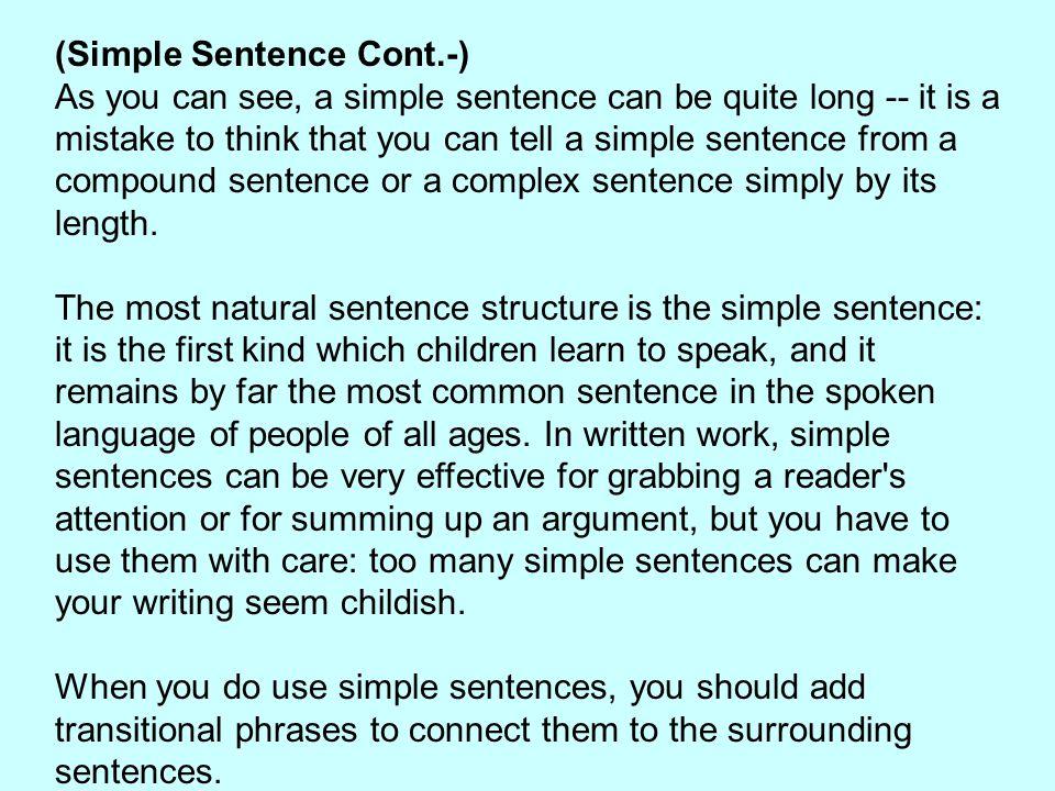 (Simple Sentence Cont.-)