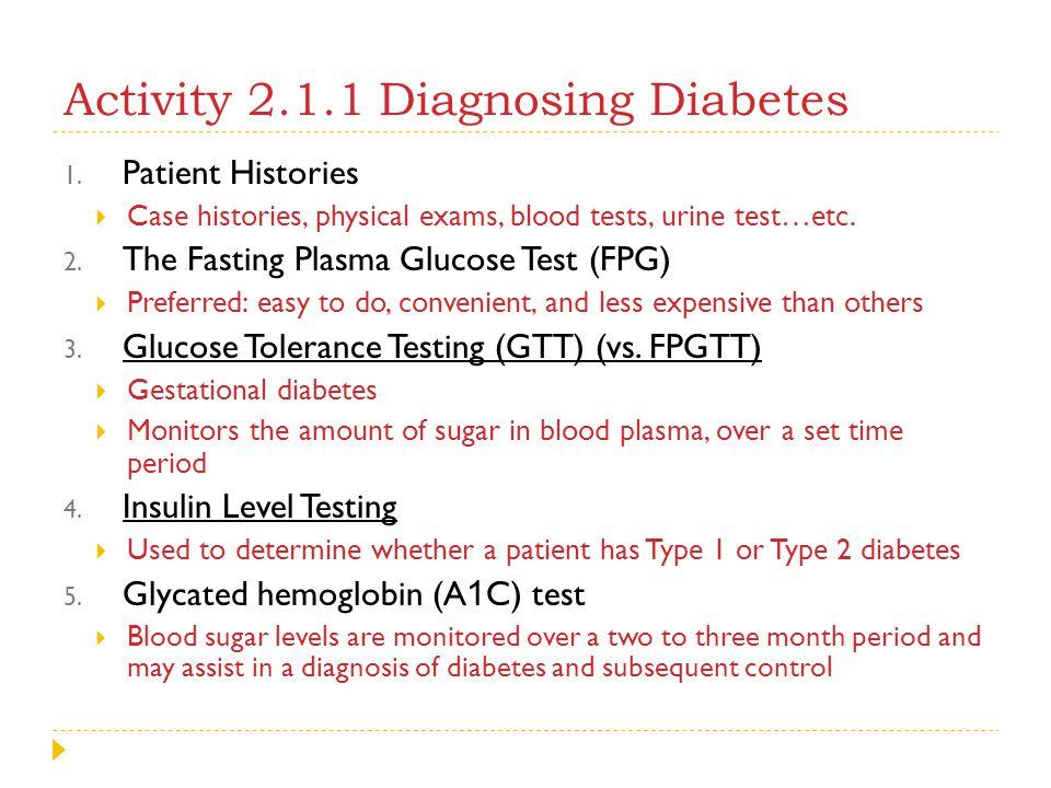 Activity 2.1.1 Diagnosing Diabetes