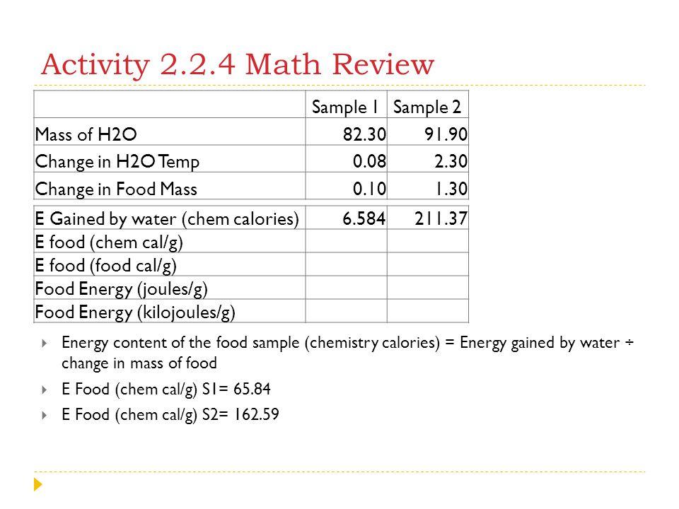 Activity 2.2.4 Math Review Sample 1 Sample 2 Mass of H2O 82.30 91.90