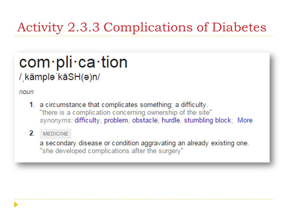 Activity 2.3.3 Complications of Diabetes