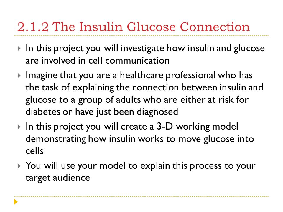 2.1.2 The Insulin Glucose Connection
