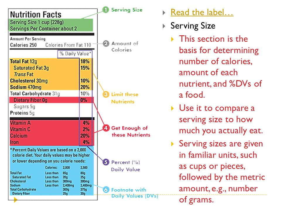 Read the label… Serving Size. This section is the basis for determining number of calories, amount of each nutrient, and %DVs of a food.