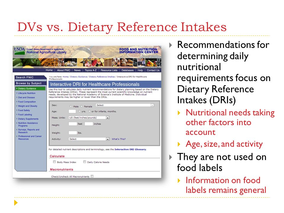 DVs vs. Dietary Reference Intakes