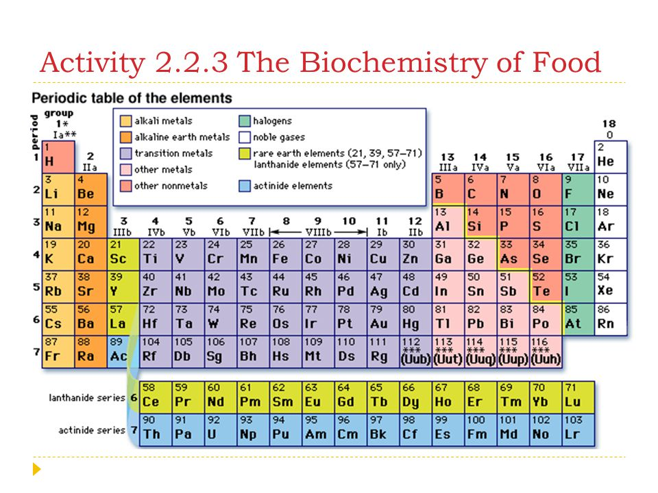 Activity 2.2.3 The Biochemistry of Food