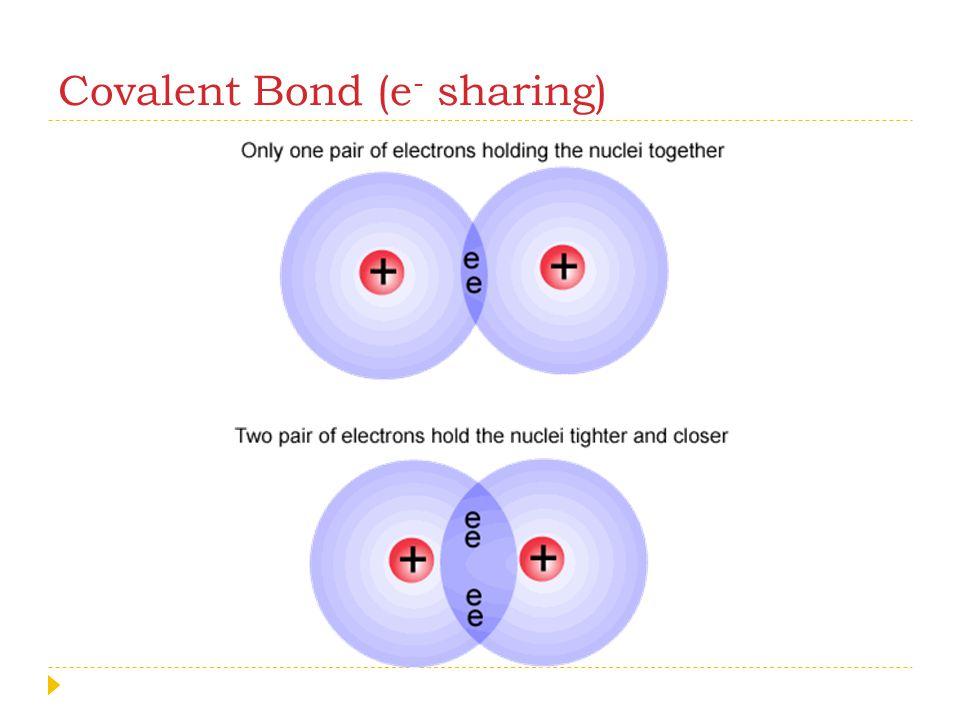 Covalent Bond (e- sharing)
