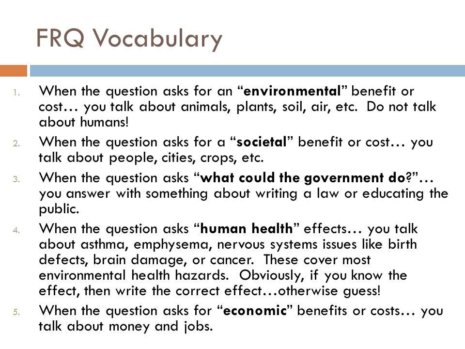 FRQ Vocabulary