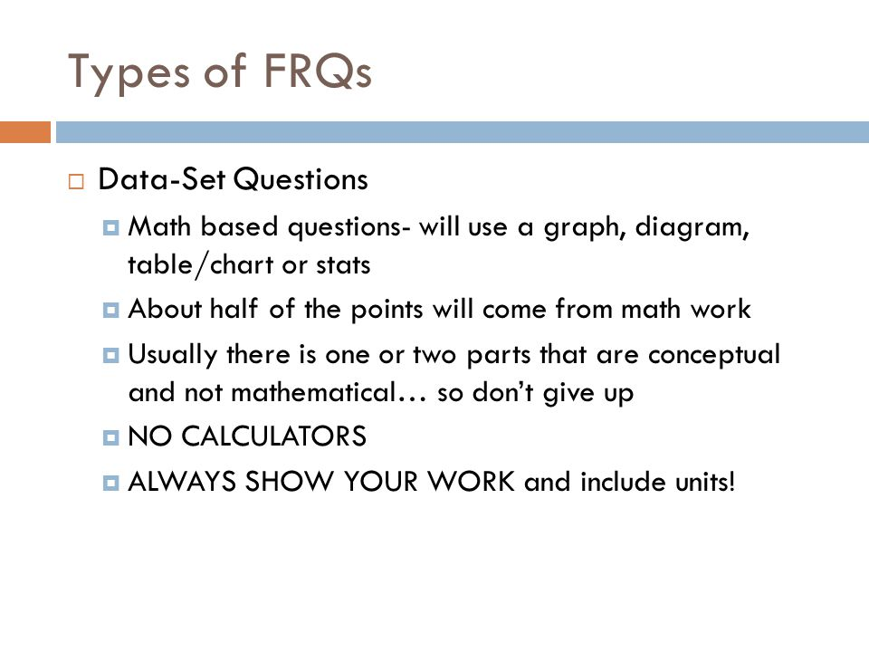 Types of FRQs Data-Set Questions