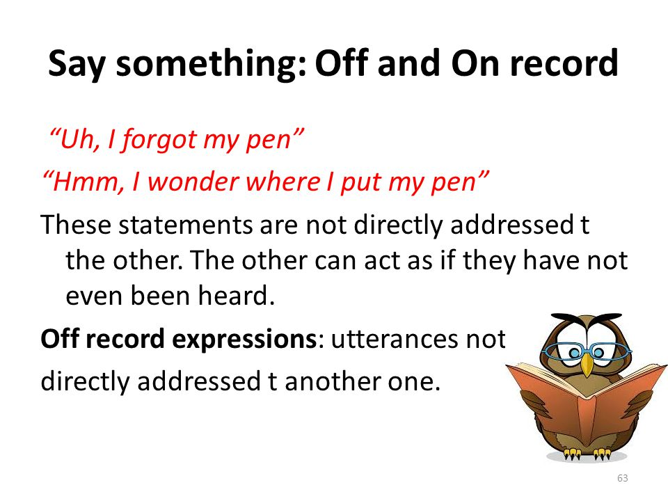 Say something: Off and On record
