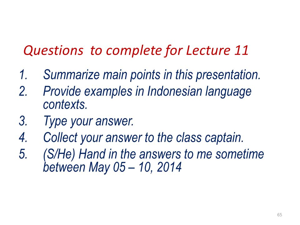 Questions to complete for Lecture 11