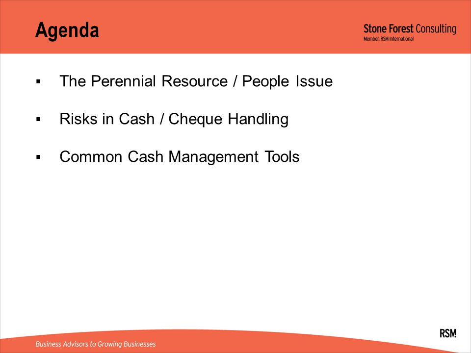 Agenda The Perennial Resource / People Issue