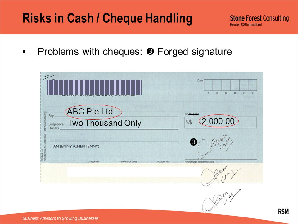 Risks in Cash / Cheque Handling