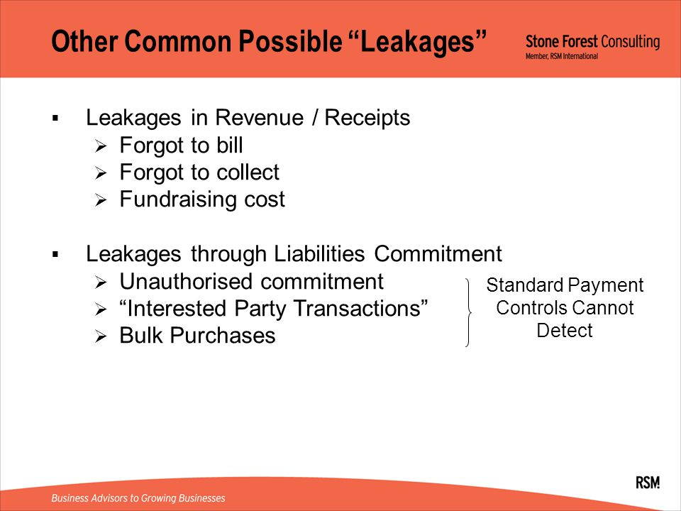 Other Common Possible Leakages