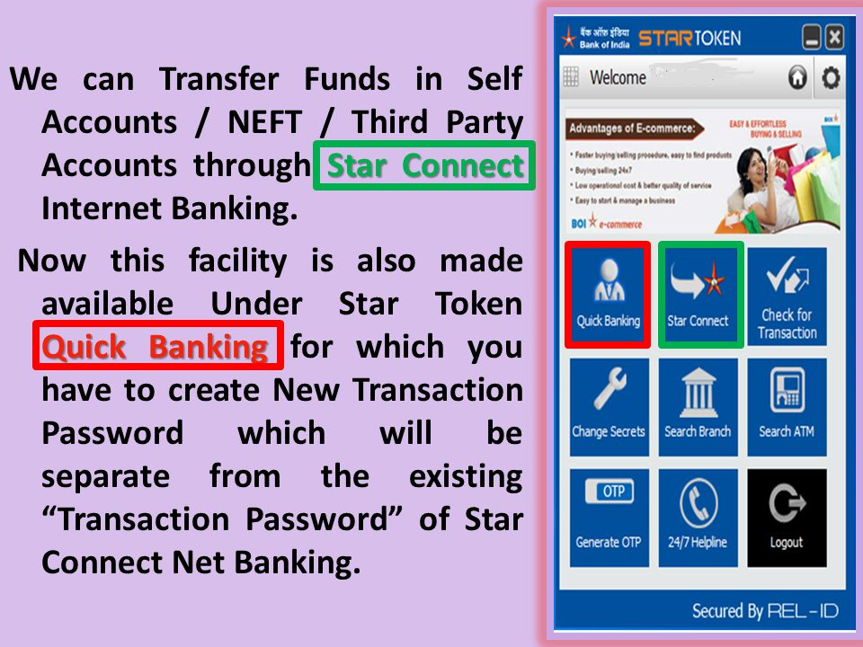 We can Transfer Funds in Self Accounts / NEFT / Third Party Accounts through Star Connect Internet Banking.