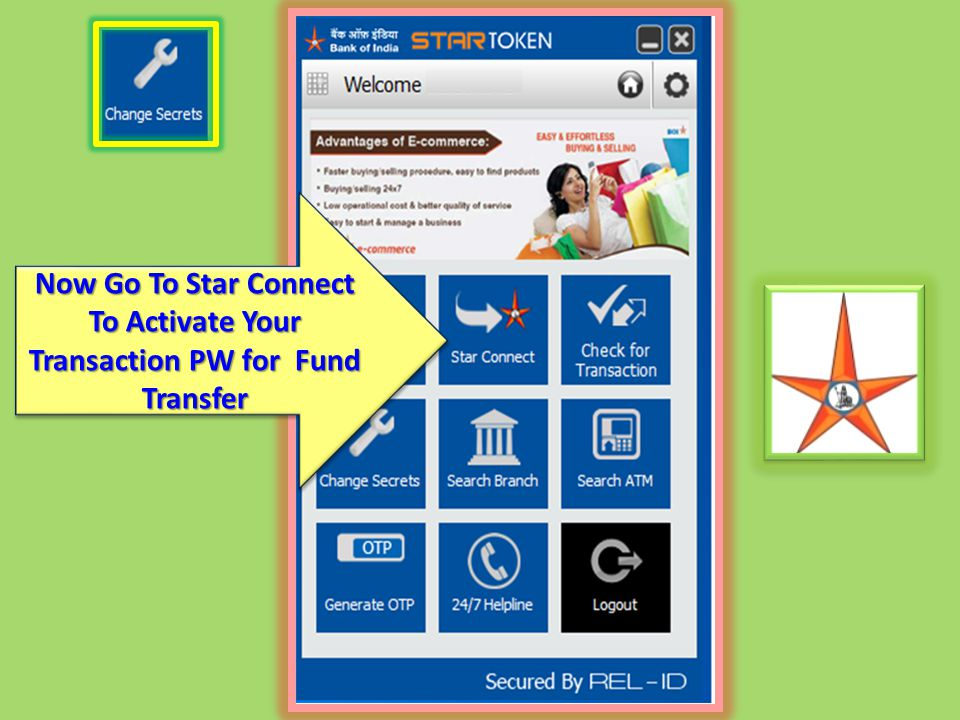 Now Go To Star Connect To Activate Your Transaction PW for Fund Transfer